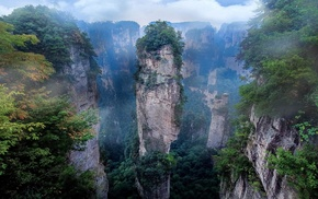 China, nature, cliff, mist, morning, national park