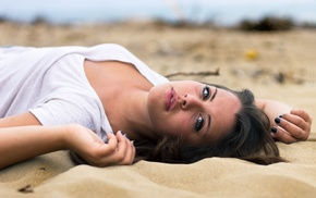 model, sand, portrait, girl outdoors, face
