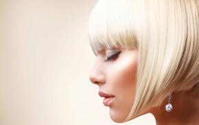 makeup, model, profile, girl, blonde, portrait