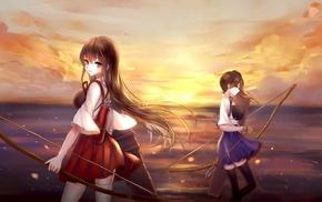 Akagi KanColle, anime girls, Kaga KanColle, Kantai Collection, anime