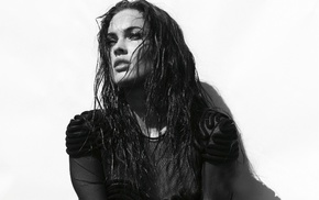 Megan Fox, portrait, actress, monochrome, face