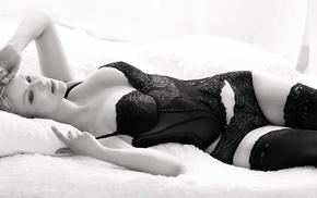 panties, corset, girl, lingerie, monochrome