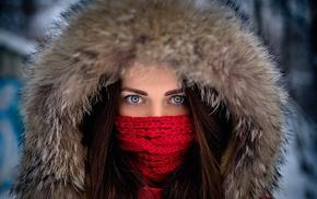 face, model, girl outdoors, fur cap, girl, blue eyes