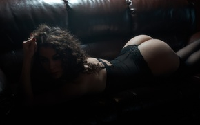 body lingerie, couch, arched back, curly hair, black lingerie, black stockings