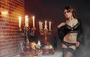 black stockings, black panties, Ilya Novitsky, lace, classy, Ellina Myuller