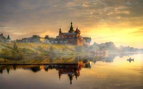Russia, landscape, river, monastery