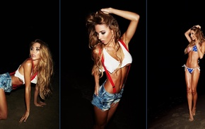 arms up, collage, bikini, girl, model, black