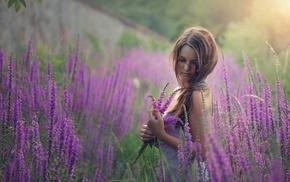 plants, field, girl outdoors, model, lavender, girl