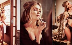 girl, lingerie, collage, model