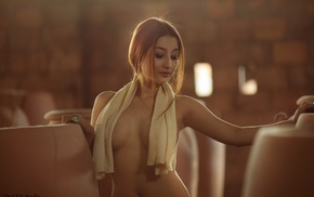 redhead, Asian, topless, vietnamese, girl, closed eyes