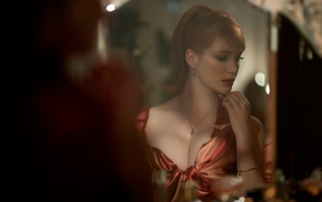 Christina Hendricks, actress, reflection, redhead, girl
