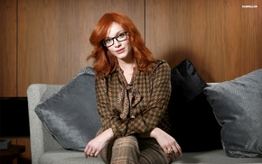 girl, girl with glasses, glasses, couch, Christina Hendricks, actress