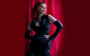 redhead, celebrity, Christina Hendricks, actress, red background, dress