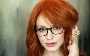 Christina Hendricks, closeup, girl with glasses, redhead