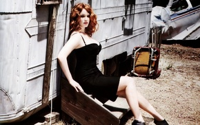 girl, wavy hair, redhead, sitting, black dress, Christina Hendricks