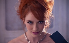 actor, closeup, Christina Hendricks, blue eyes, redhead, looking at viewer