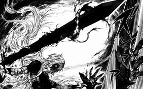 manga, sword, monochrome