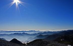nature, photography, landscape, mountains, Sun