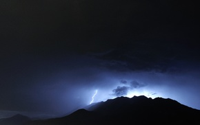 photography, nature, mountains, lightning, landscape, storm