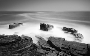 water, photography, coast, sea, monochrome, rock