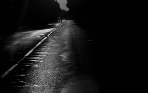 monochrome, photography, road, night, landscape