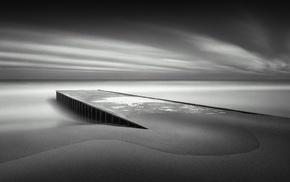 pier, water, landscape, nature, photography, monochrome