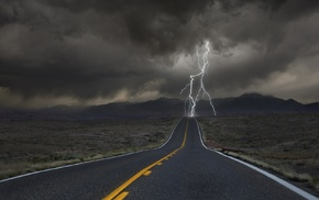 lightning, desert, storm, road