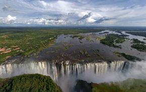 waterfall, trees, Zambezi River, landscape, lake, Victoria Falls