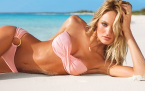strapless bras, Candice Swanepoel, bikini, model, beach, blonde
