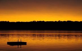 lake, photography, orange, trees, water, reflection