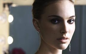 Natalie Portman, looking at viewer, girl, actress, face, depth of field