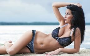 arms up, sand, model, girl, bikini, pierced navel