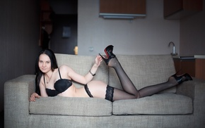 black lingerie, ass, black stockings, couch, black hair, legs up