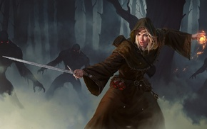 robes, fantasy art, mist, girl, sword, warrior