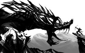 fantasy art, dragon, warrior, bow and arrow, monochrome