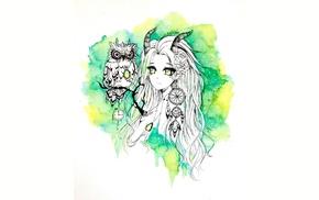 original characters, owl, watercolor, green