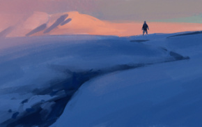 snow, plains, digital art, mountains