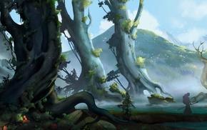 trees, Better World, landscape, fantasy art, Stephan Bored