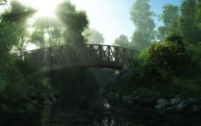 CGI, trees, digital art, lights, park, bridge