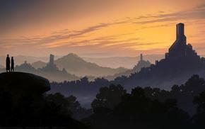 fantasy art, couple, landscape, science fiction, structure, sunset