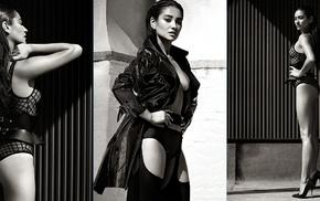model, collage, girl, monochrome
