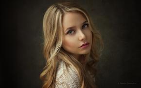 blonde, girl, face, portrait, simple background