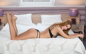 girl, model, in bed, black lingerie