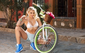 girl, blonde, model, bicycle, Khloe Terae, girl with bicycles