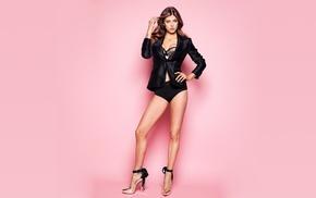 high heels, pink background, girl, Adrianne Palicki, brunette, actress