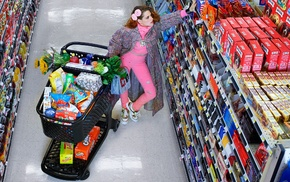 actress, food, shopping, shopping cart, celebrity, supermarket