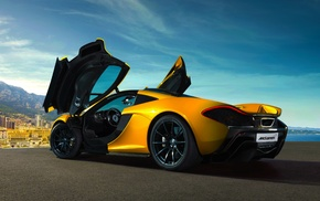 blue, yellow, yellow cars, city, McLaren, Super Car