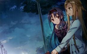 anime girls, Konno Yuuki, Yuuki Asuna, Sword Art Online, anime, rain
