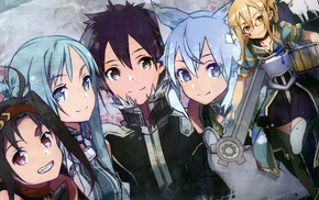 Sword Art Online, anime girls, Yuuki Asuna, Asada Shino, anime, Kirigaya Kazuto
