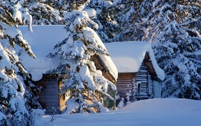 hut, snow, seasons, winter